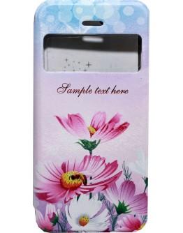 Калъф DeTech за iPhone 6/6S, Кожа изкуствена, Кожа, Принт цветя  - 51150