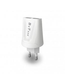 Мрежово зарядно устройство, DeTech, DE-01C, 5V/2.1A, 220V,1 x USB, С Type-C кабел, 1.0m, Бял - 14121