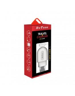 Мрежово зарядно устройство DeTech DE-28M, 5V/2.4A, 220V,1 x USB, С Micro USB кабел, 1.0m, Бял - 14133