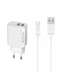 Мрежово зарядно устройство DeTech DE-09M, 5V/2.4A, 220V,2 x USB, С Micro USB кабел, 1.0m, Бял - 14140