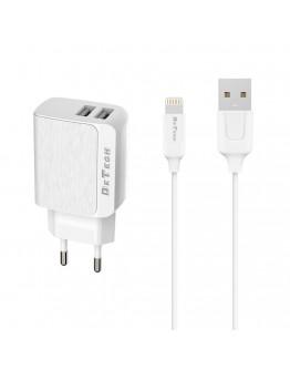 Мрежово зарядно устройство DeTech DE-09i, 5V/2.4A, 220V, 2 x USB, С Lightning кабел, 1.0m, Бял - 14142
