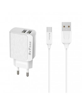 Мрежово зарядно устройство, DeTech, DE-09C, 5V/2.4A, 220V, 2 x USB, С Type-C кабел, 1.0m, Бял - 14141