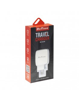 Мрежово зарядно устройство DeTech, DE-33, 5V/2.4A 220V, 2 x USB, Бял - 40099